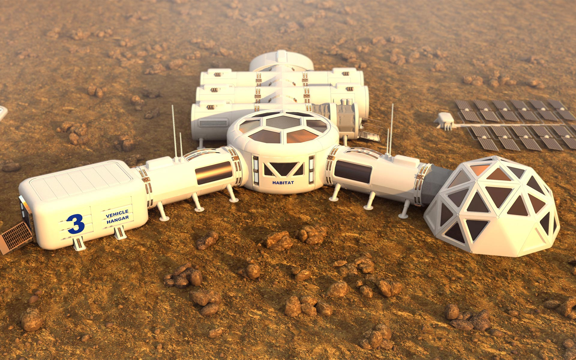 3D render of a human habitat on another planet