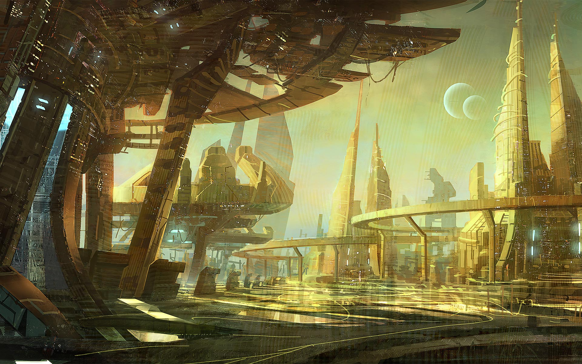 Illustration of a futuristic sci-fi city