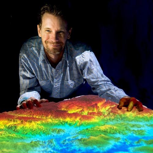 Man presenting projected digital elevation model