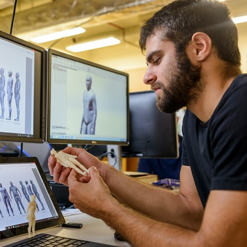 Man studying 3D models of people